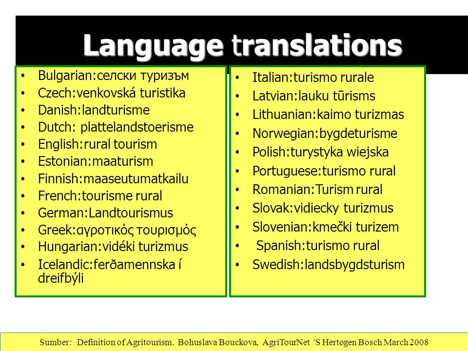 Language translations