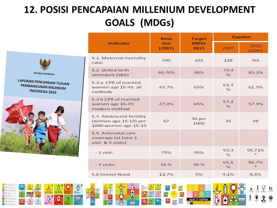 12. POSISI PENCAPAIAN MILLENIUM DEVELOPMENT GOALS (MDGs)