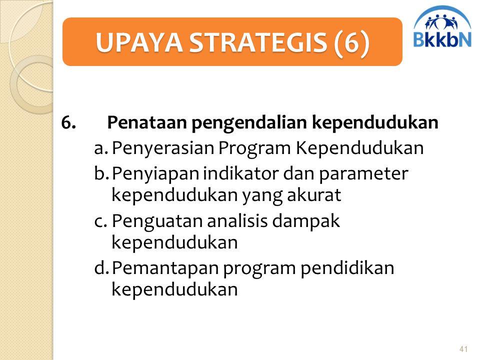 UPAYA STRATEGIS (6) 6. Penataan pengendalian kependudukan