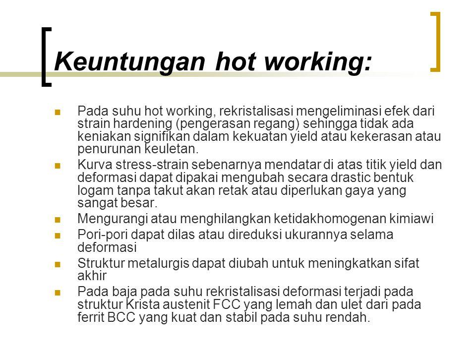 Keuntungan hot working: