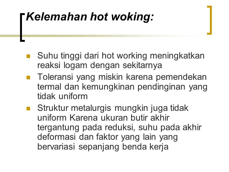 Kelemahan hot woking: Suhu tinggi dari hot working meningkatkan reaksi logam dengan sekitarnya.