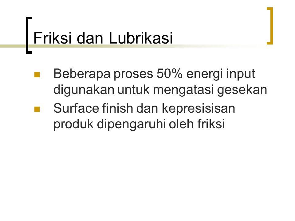 Friksi dan Lubrikasi Beberapa proses 50% energi input digunakan untuk mengatasi gesekan.