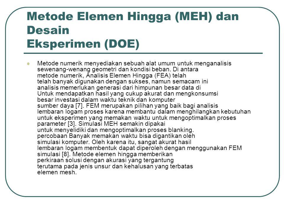 Metode Elemen Hingga (MEH) dan Desain Eksperimen (DOE)