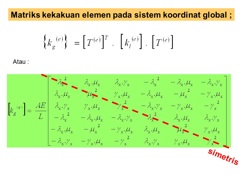 Matriks kekakuan elemen pada sistem koordinat global ;