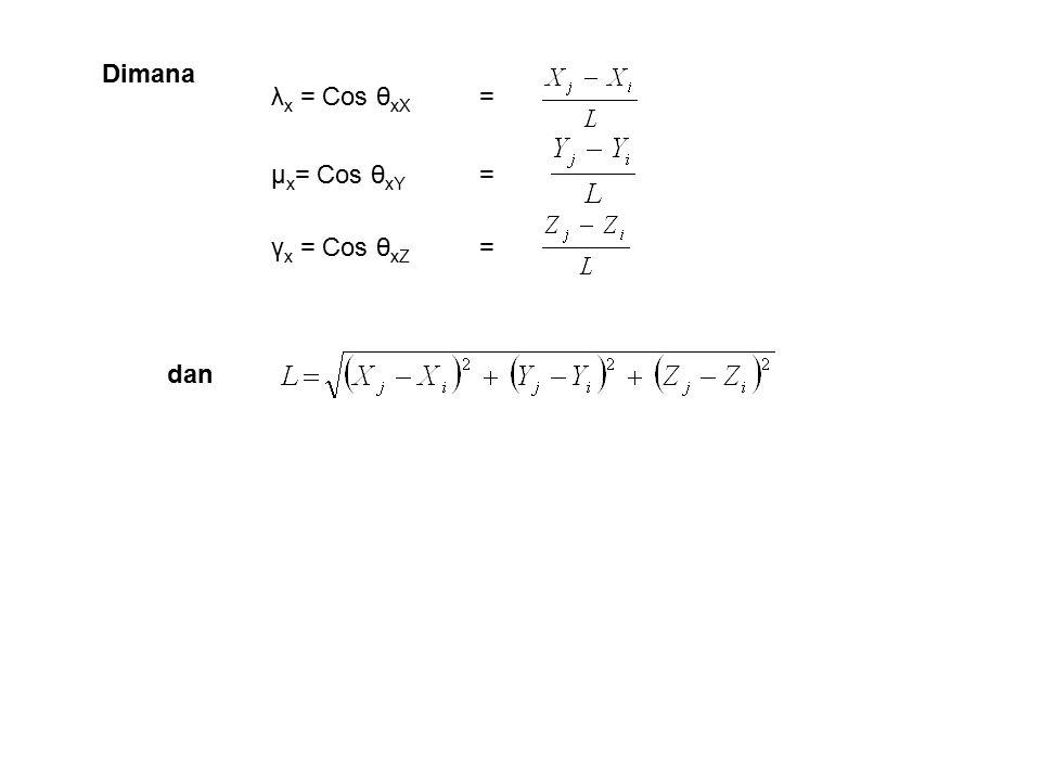 Dimana dan λx = Cos θxX = μx= Cos θxY = γx = Cos θxZ =