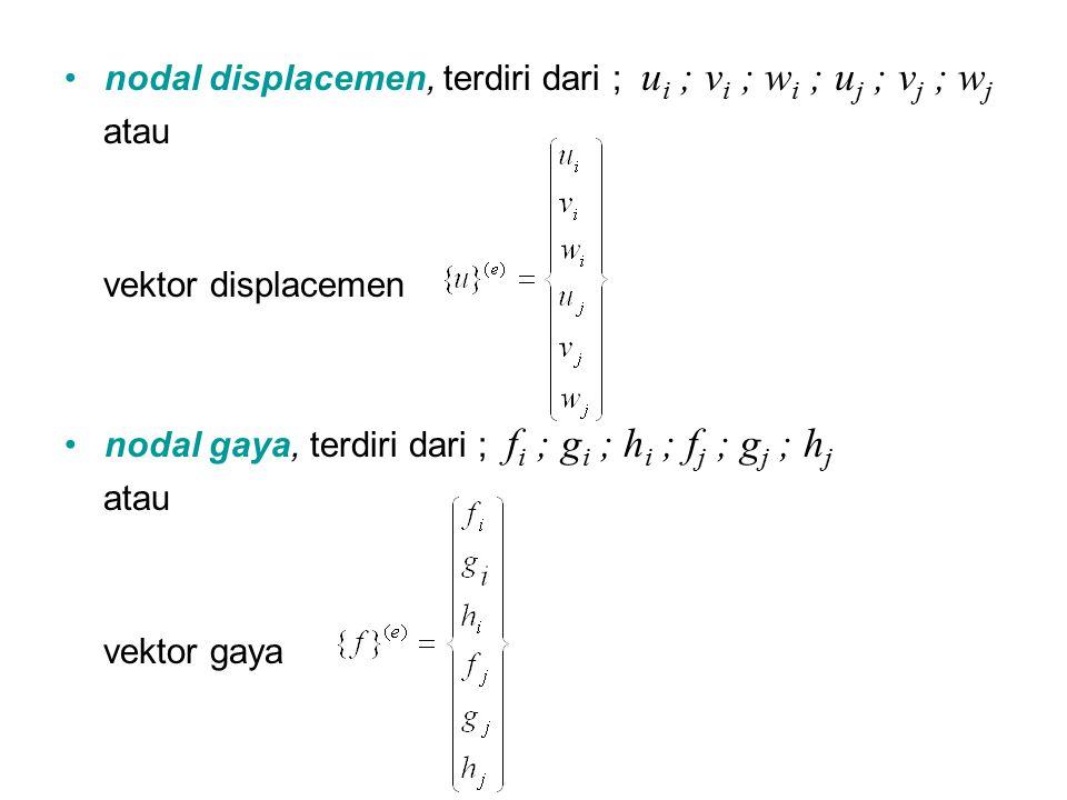 nodal displacemen, terdiri dari ; ui ; vi ; wi ; uj ; vj ; wj
