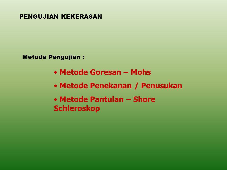 Metode Penekanan / Penusukan Metode Pantulan – Shore Schleroskop