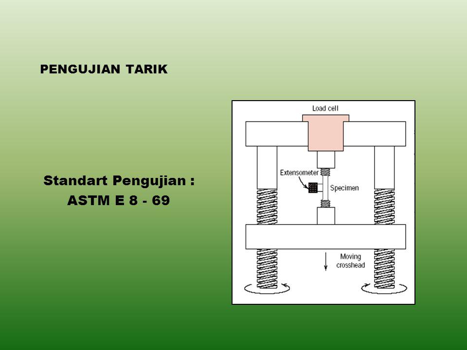PENGUJIAN TARIK Standart Pengujian : ASTM E 8 - 69