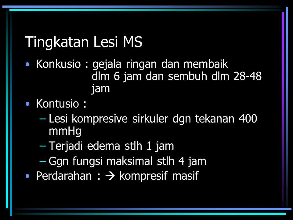 Tingkatan Lesi MS Konkusio : gejala ringan dan membaik dlm 6 jam dan sembuh dlm 28-48 jam. Kontusio :