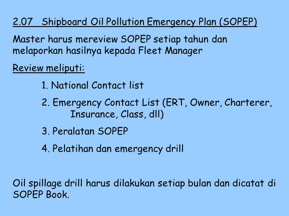 2.07 Shipboard Oil Pollution Emergency Plan (SOPEP)