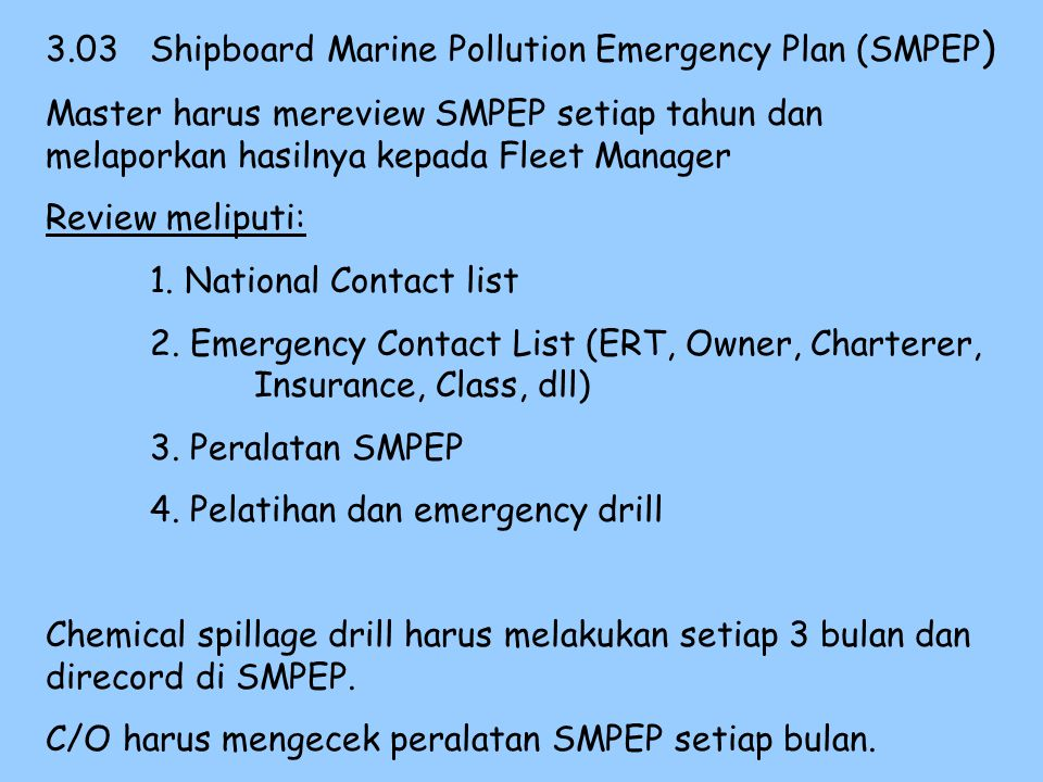 3.03 Shipboard Marine Pollution Emergency Plan (SMPEP)