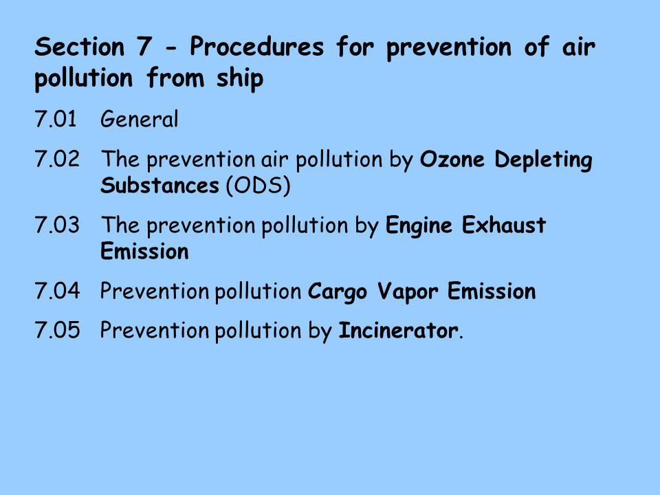 Section 7 - Procedures for prevention of air pollution from ship