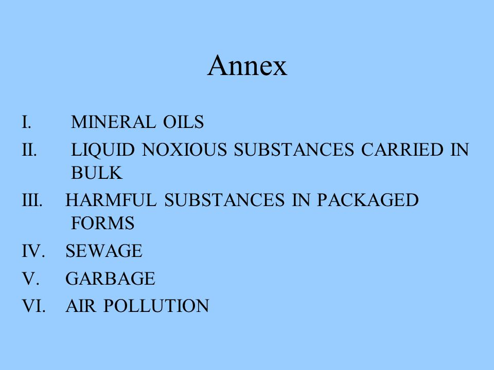 Annex I. MINERAL OILS II. LIQUID NOXIOUS SUBSTANCES CARRIED IN BULK