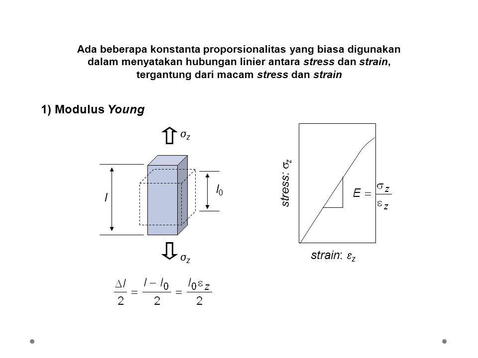 1) Modulus Young z stress: z l0 l strain: z