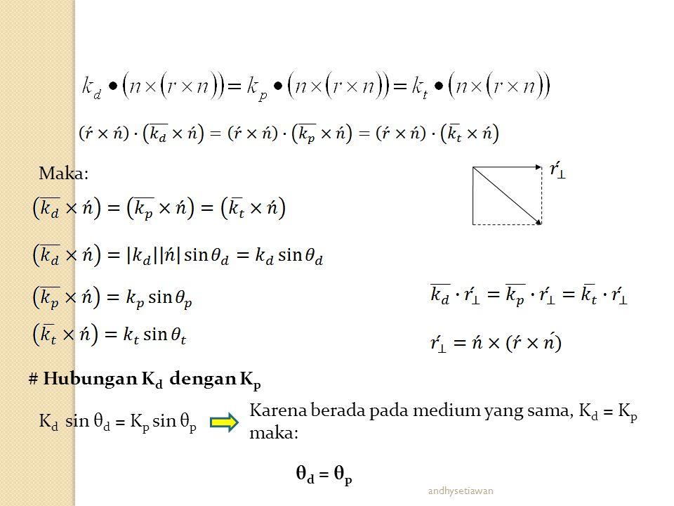 Karena berada pada medium yang sama, Kd = Kp maka: