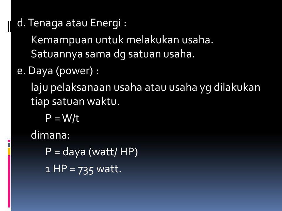 d. Tenaga atau Energi : Kemampuan untuk melakukan usaha