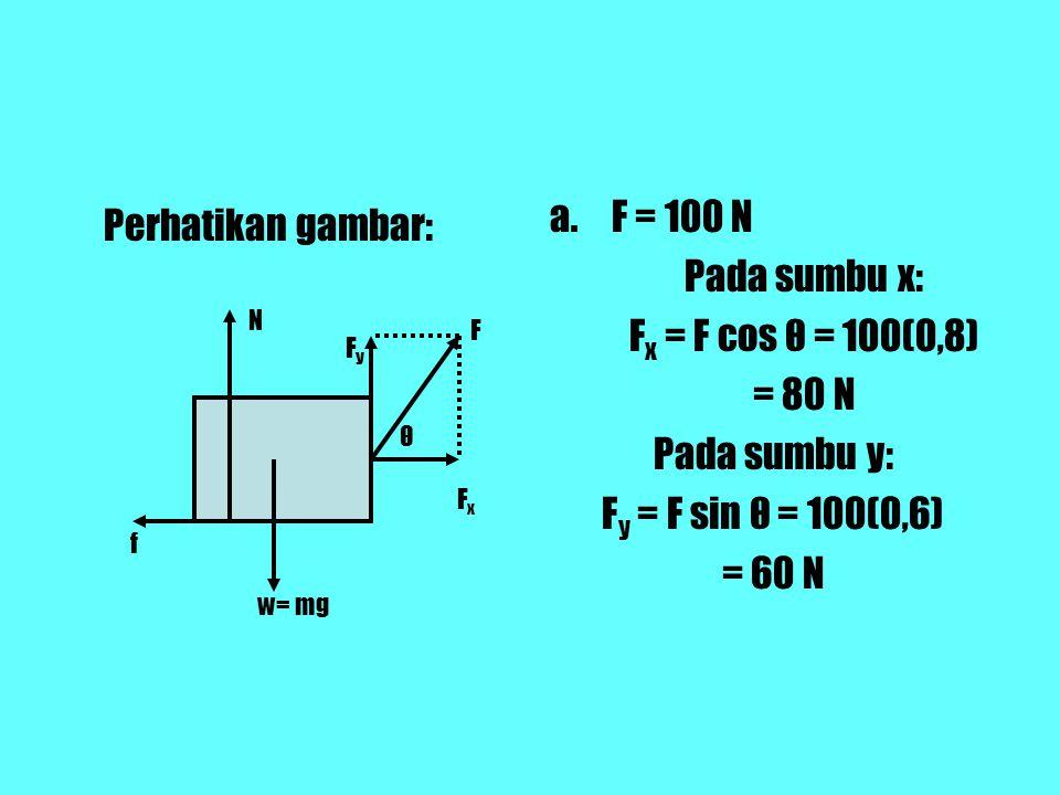 F = 100 N Perhatikan gambar: Pada sumbu x: Fx = F cos θ = 100(0,8)