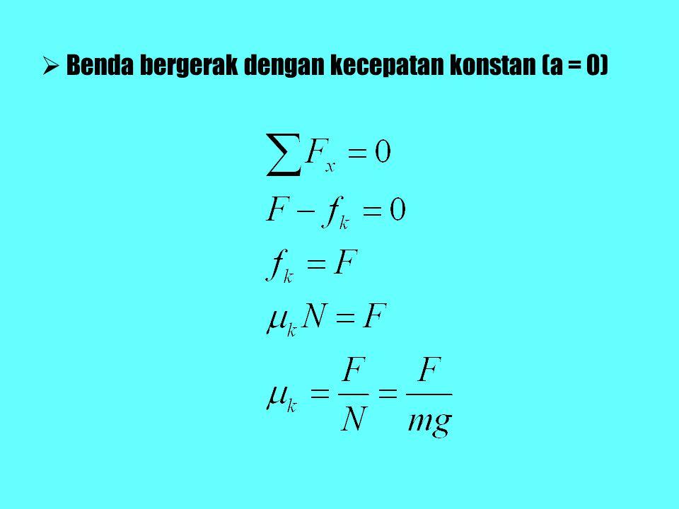 Benda bergerak dengan kecepatan konstan (a = 0)