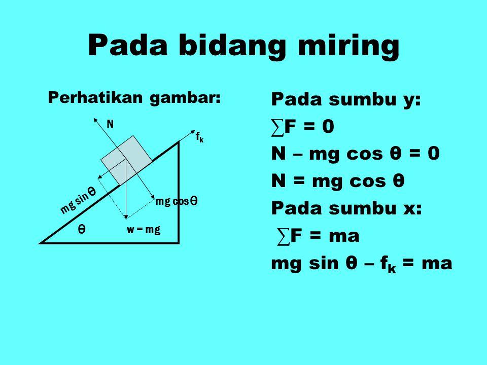Pada bidang miring Pada sumbu y: ∑F = 0 N – mg cos θ = 0 N = mg cos θ