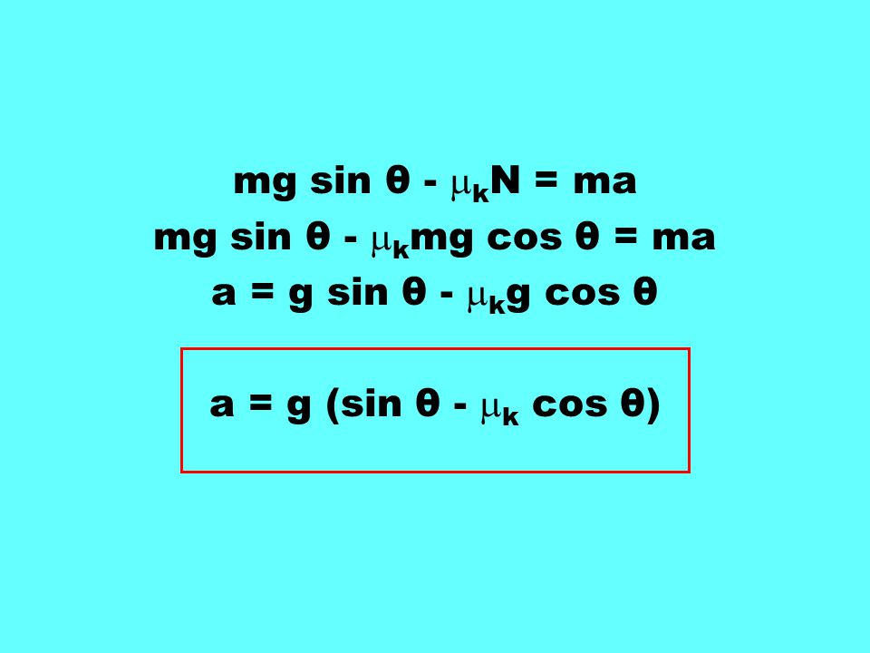 mg sin θ - kN = ma mg sin θ - kmg cos θ = ma a = g sin θ - kg cos θ a = g (sin θ - k cos θ)