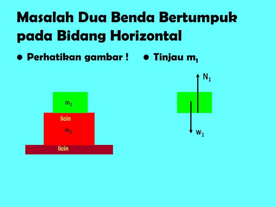 Masalah Dua Benda Bertumpuk pada Bidang Horizontal