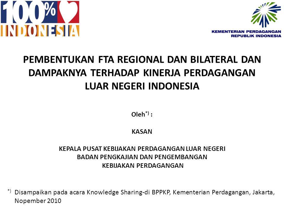 PEMBENTUKAN FTA REGIONAL DAN BILATERAL DAN DAMPAKNYA TERHADAP KINERJA PERDAGANGAN LUAR NEGERI INDONESIA