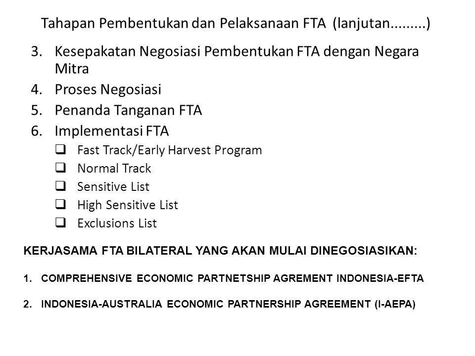 Tahapan Pembentukan dan Pelaksanaan FTA (lanjutan.........)