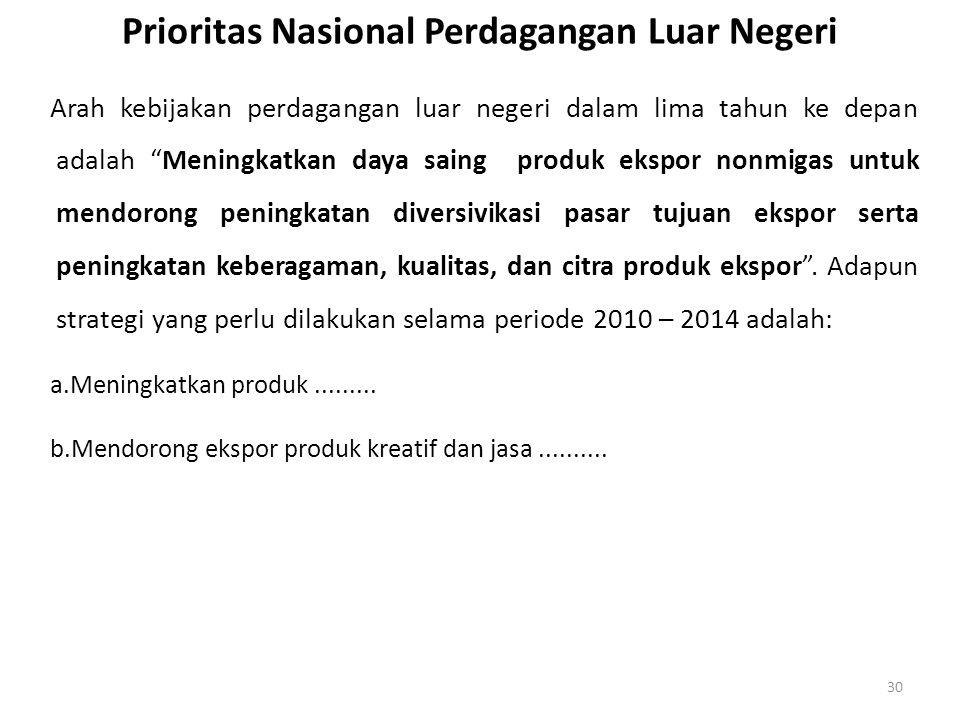 Prioritas Nasional Perdagangan Luar Negeri
