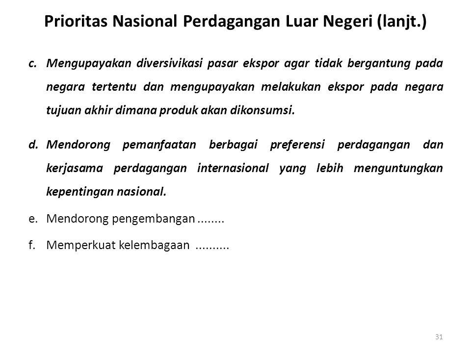 Prioritas Nasional Perdagangan Luar Negeri (lanjt.)