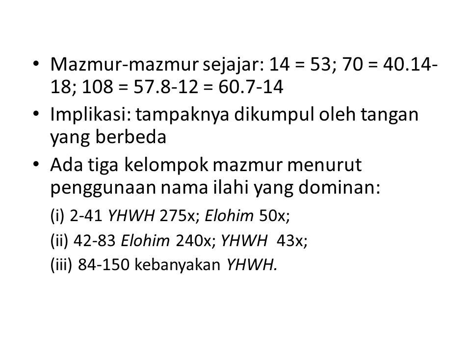 Mazmur-mazmur sejajar: 14 = 53; 70 = 40.14-18; 108 = 57.8-12 = 60.7-14