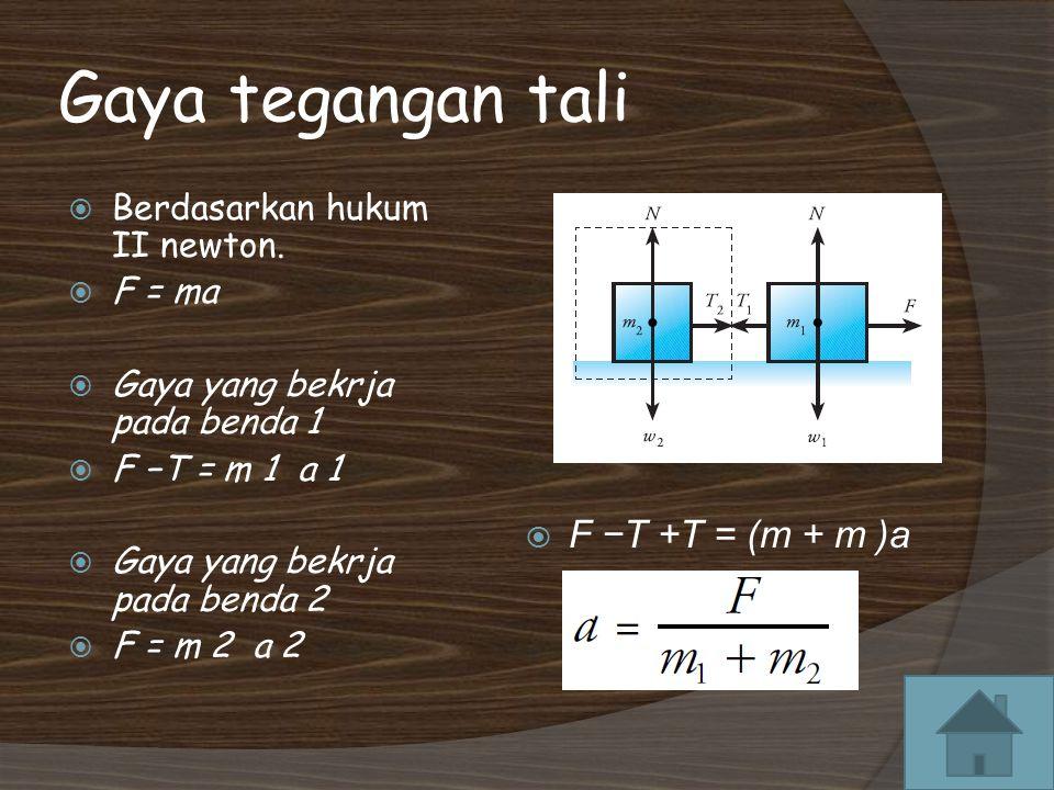 Gaya tegangan tali F −T +T = (m + m )a Berdasarkan hukum II newton.