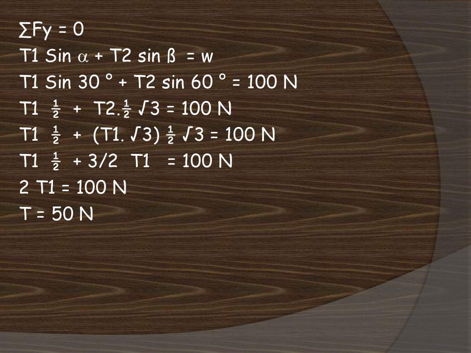 ∑Fy = 0 T1 Sin  + T2 sin ß = w. T1 Sin 30 ° + T2 sin 60 ° = 100 N. T1 ½ + T2.½ √3 = 100 N. T1 ½ + (T1. √3) ½ √3 = 100 N.