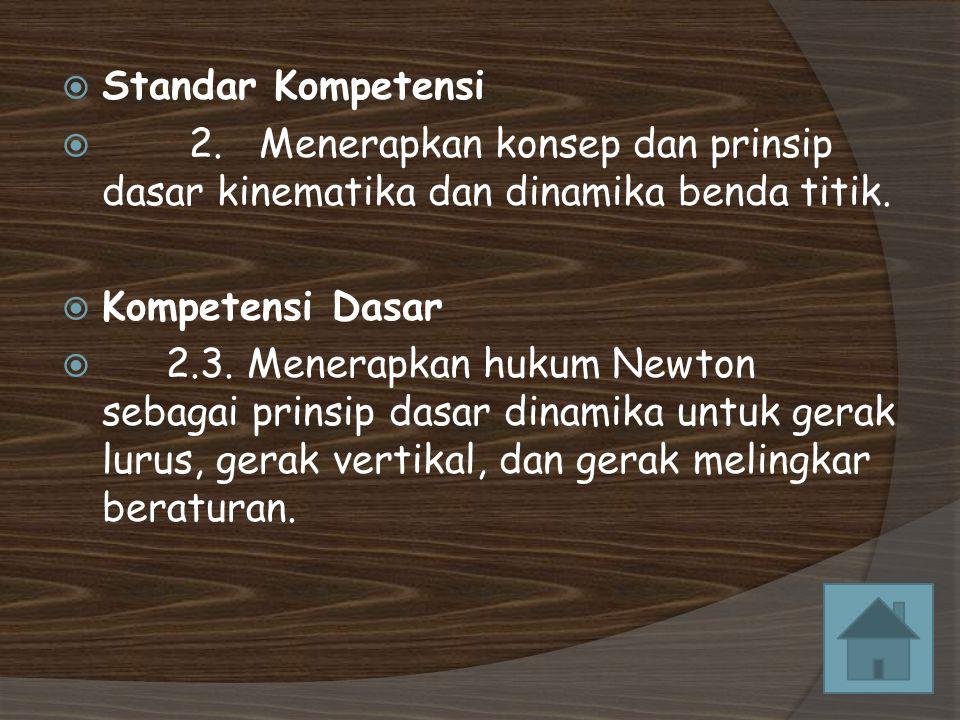 Standar Kompetensi 2. Menerapkan konsep dan prinsip dasar kinematika dan dinamika benda titik.