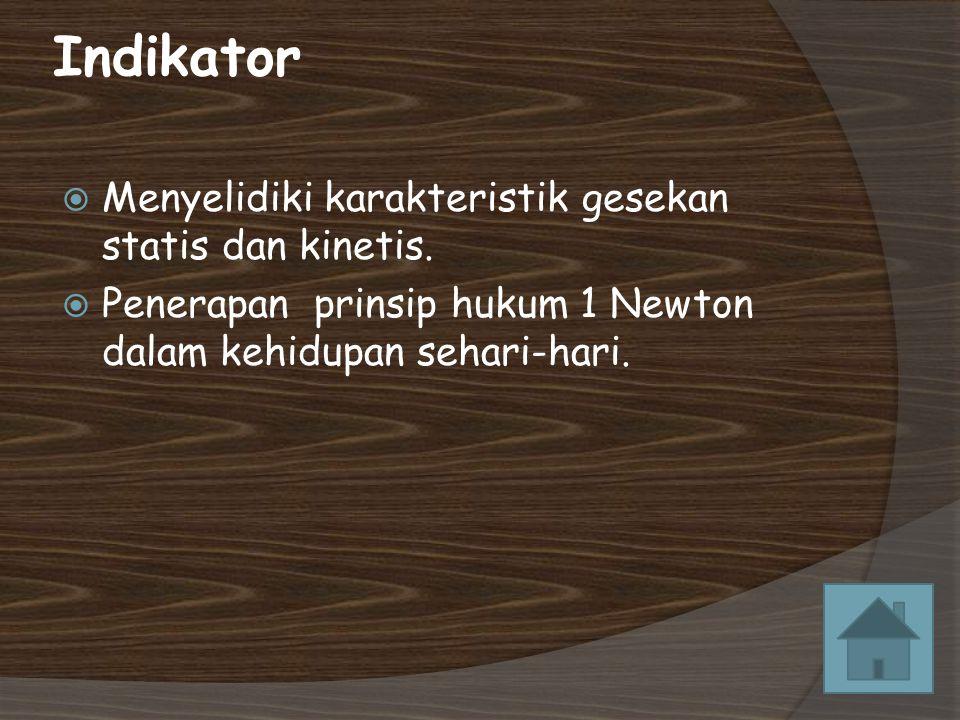 Indikator Menyelidiki karakteristik gesekan statis dan kinetis.