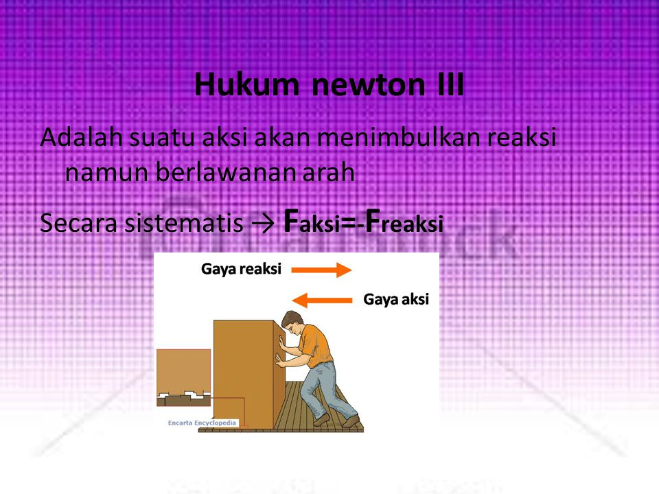 Hukum newton III Adalah suatu aksi akan menimbulkan reaksi namun berlawanan arah Secara sistematis → Faksi=-Freaksi