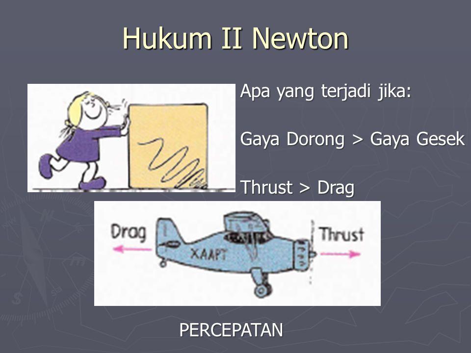 Hukum II Newton Apa yang terjadi jika: Gaya Dorong > Gaya Gesek