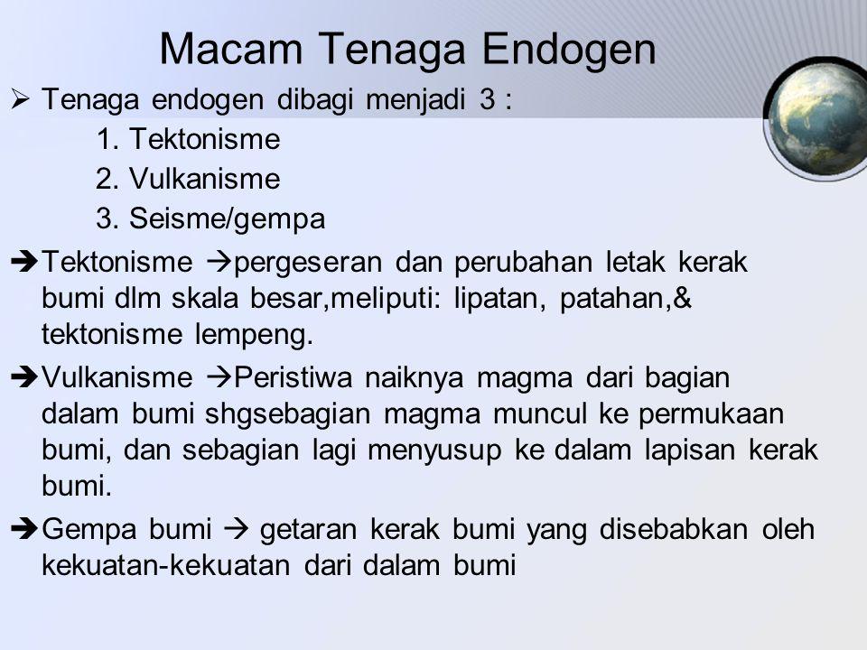 Macam Tenaga Endogen Tenaga endogen dibagi menjadi 3 : 1. Tektonisme