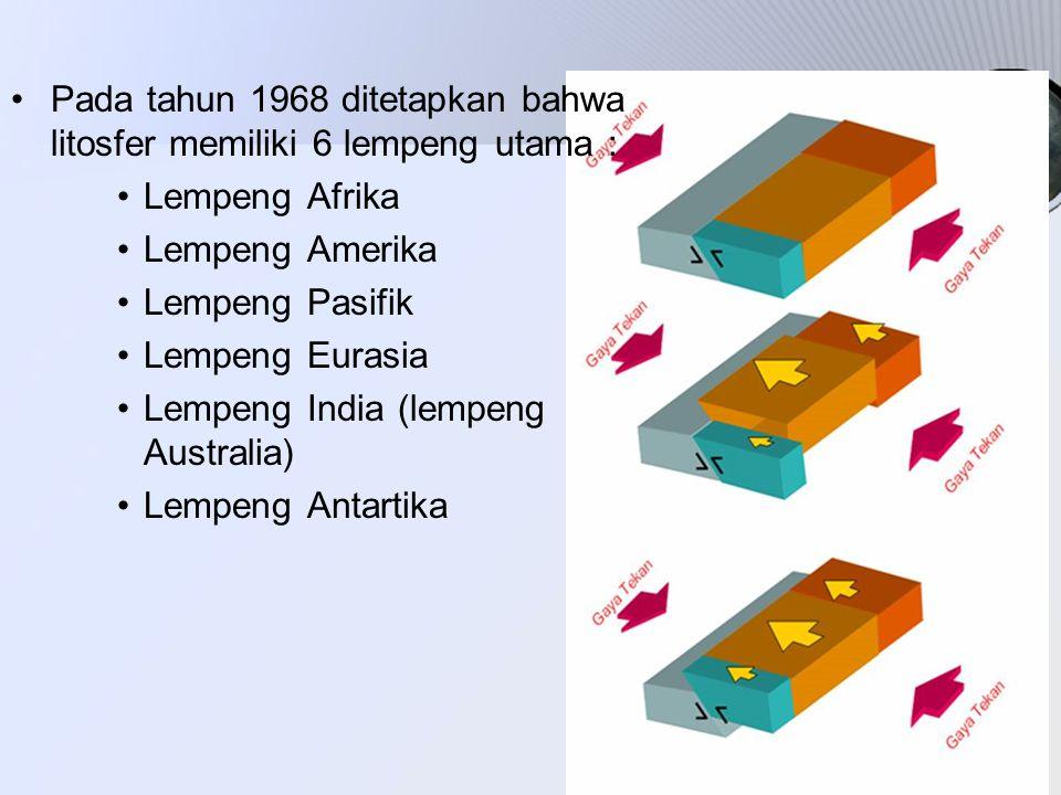 Pada tahun 1968 ditetapkan bahwa litosfer memiliki 6 lempeng utama :