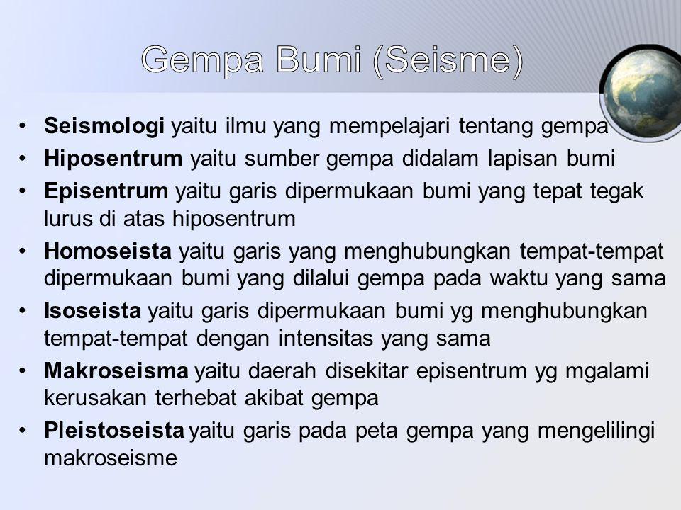 Gempa Bumi (Seisme) Seismologi yaitu ilmu yang mempelajari tentang gempa. Hiposentrum yaitu sumber gempa didalam lapisan bumi.