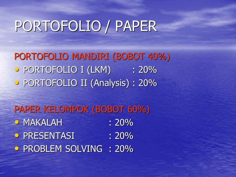 PORTOFOLIO / PAPER PORTOFOLIO MANDIRI (BOBOT 40%)