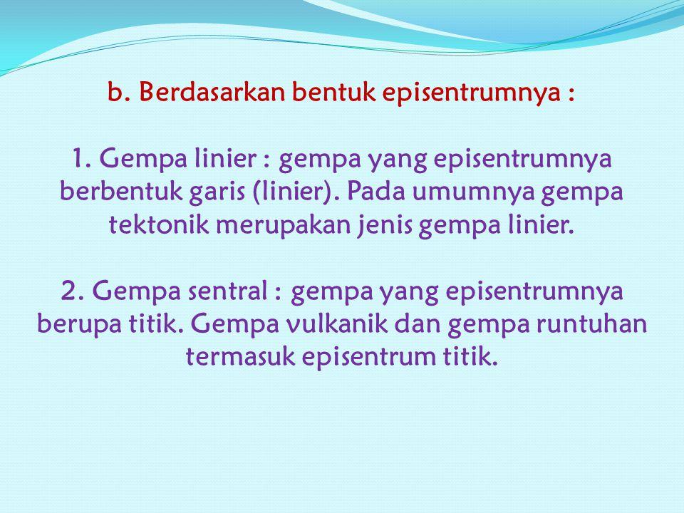 b. Berdasarkan bentuk episentrumnya : 1