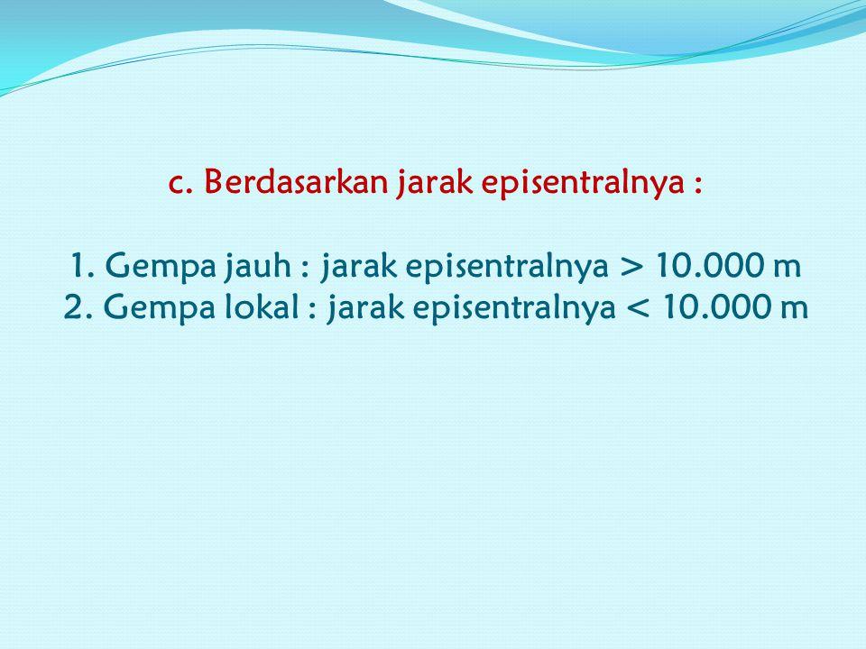 c. Berdasarkan jarak episentralnya : 1