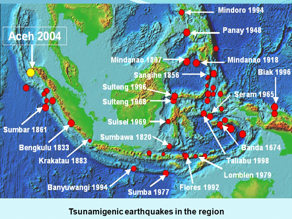 Tsunamigenic earthquakes in the region