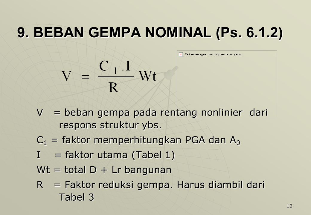 9. BEBAN GEMPA NOMINAL (Ps. 6.1.2)
