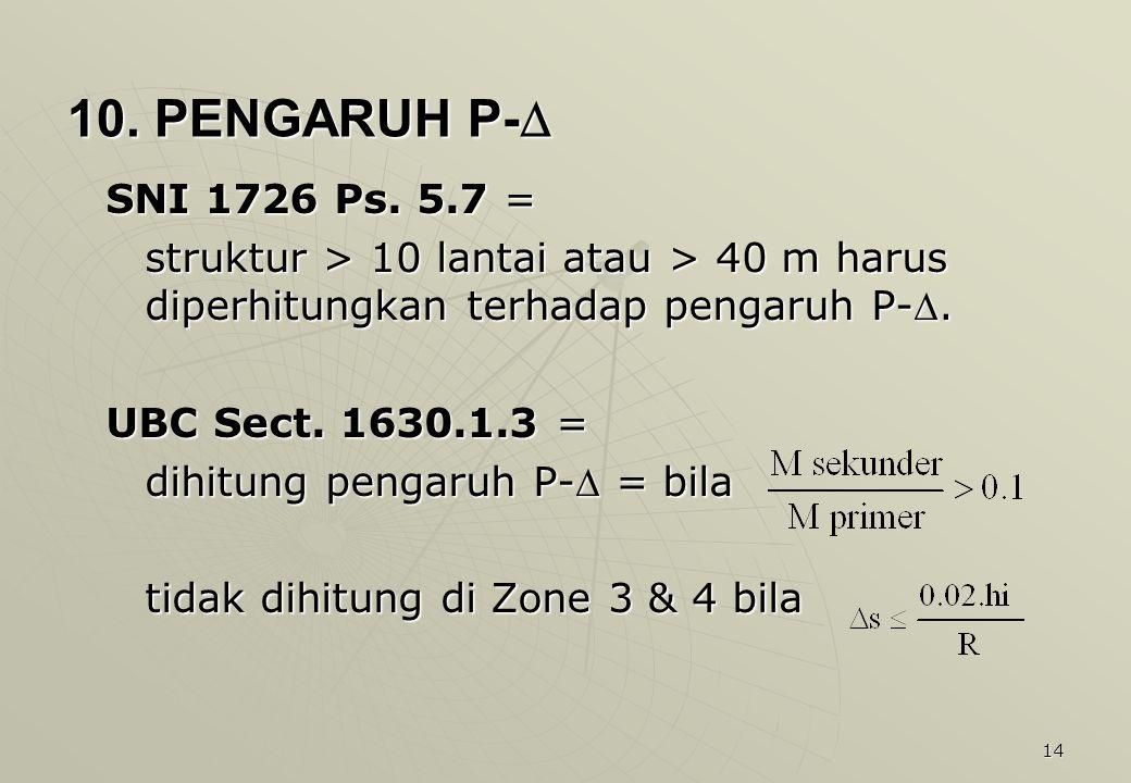 10. PENGARUH P- SNI 1726 Ps. 5.7 = struktur > 10 lantai atau > 40 m harus diperhitungkan terhadap pengaruh P-.