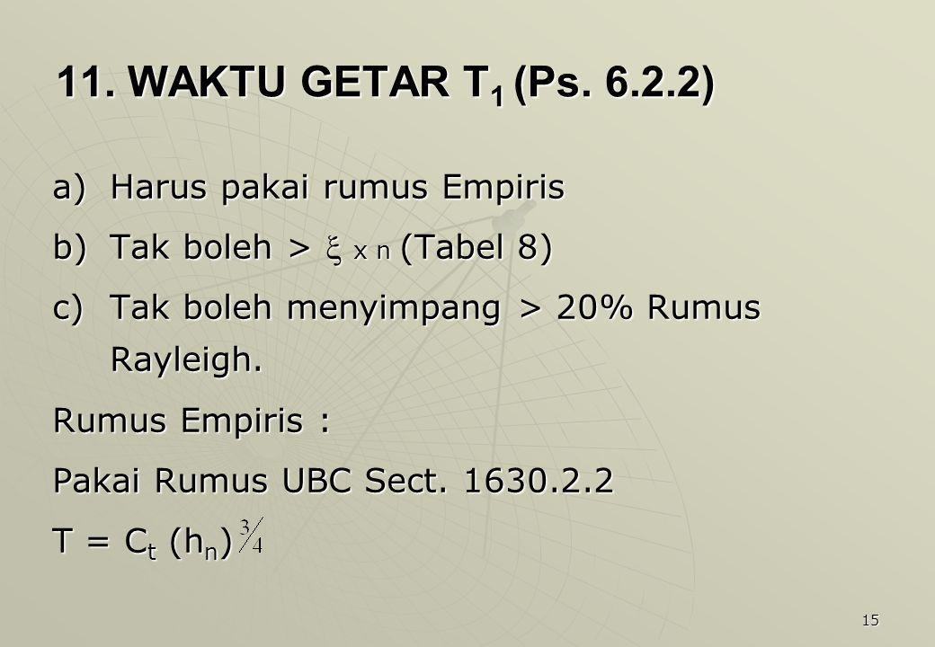 11. WAKTU GETAR T1 (Ps. 6.2.2) Harus pakai rumus Empiris