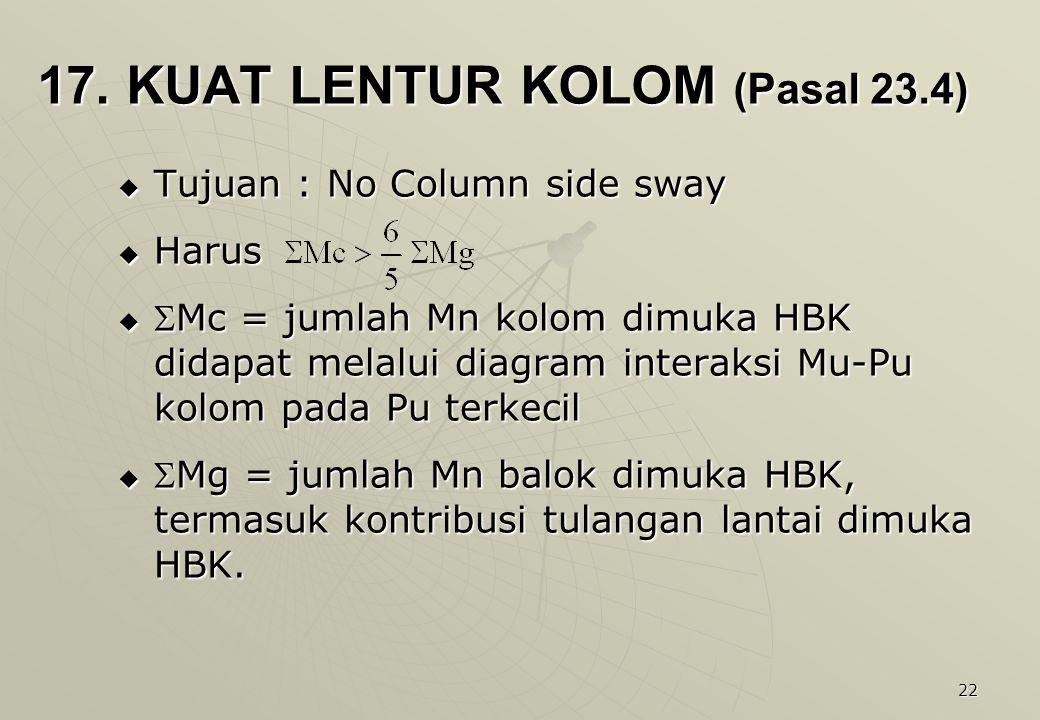 17. KUAT LENTUR KOLOM (Pasal 23.4)