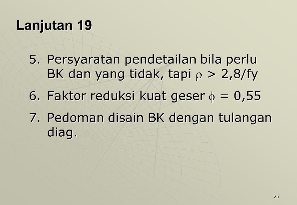 Lanjutan 19 Persyaratan pendetailan bila perlu BK dan yang tidak, tapi  > 2,8/fy. Faktor reduksi kuat geser  = 0,55.