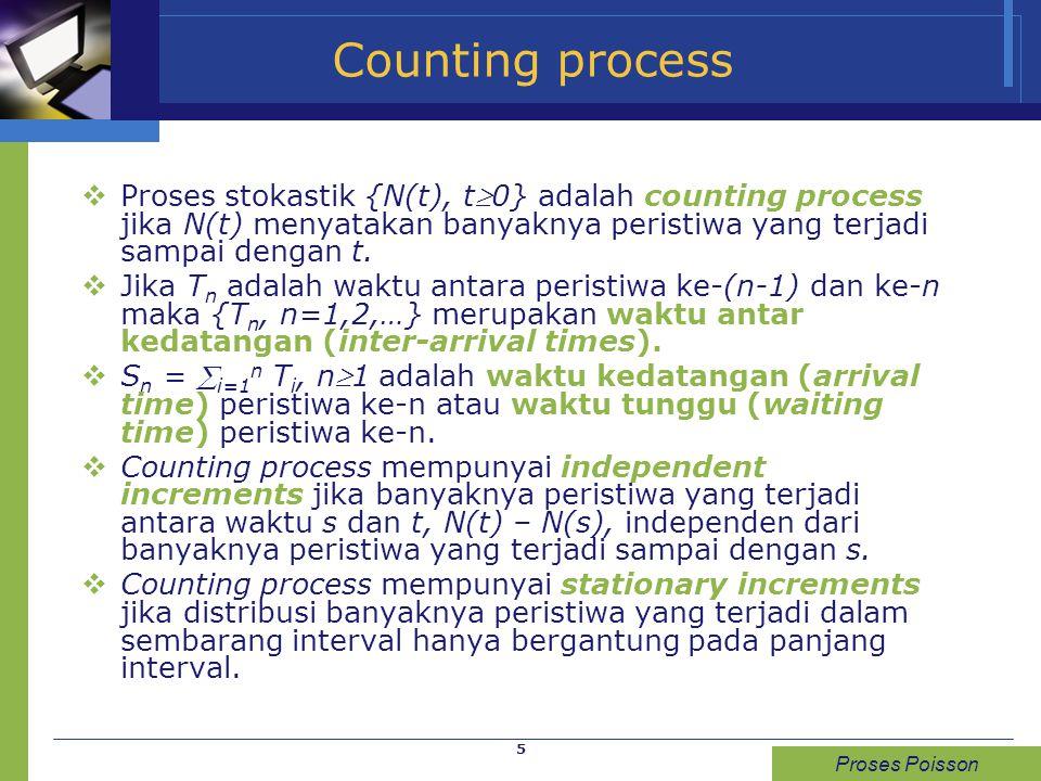 Counting process Proses stokastik {N(t), t0} adalah counting process jika N(t) menyatakan banyaknya peristiwa yang terjadi sampai dengan t.