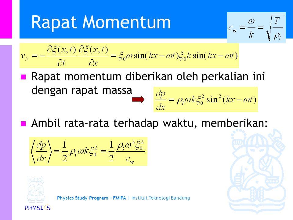 Rapat Momentum Rapat momentum diberikan oleh perkalian ini dengan rapat massa.